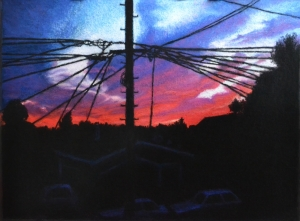 """Sunset, Wired"" Pastel on prepared eco-panel, 24""x18"".  Completed August 2011."