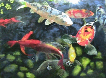 """Koi II"" Oil on gallery panel. Completed March 2011."