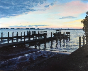 """Lemon Bay Homecoming"" Oil on gallery eco-panel, 32""x24"".  Completed April 2012."