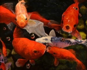 """""""Bigmouth Zippy and Flash"""", 20"""" x 16"""", oil on panel.  March 2014"""